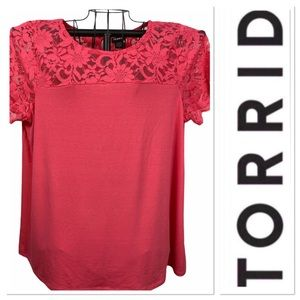 Torrid  top with lace accent